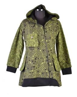 Khaki kabátik s kapucňou a asymetrickými zipsy, Mix tlač, vrecká