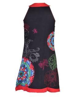 """Čierne šaty bez rukávov """"Pamella"""" s farebnými mandalami"""