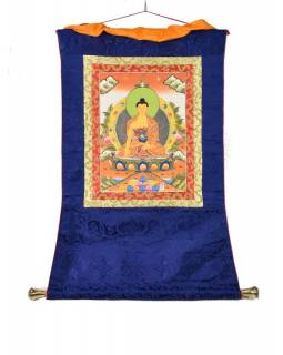 Tanka, Budha Shakiamuni, modrý brokát, 55x85cm