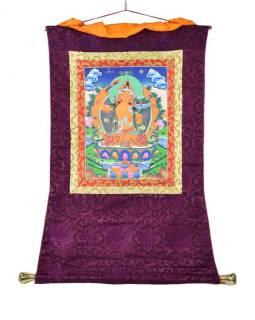 Tanka, Manjushree, fialový brokát, 55x85cm