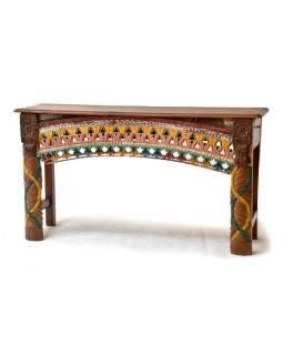 Starý konzolový stolík zdobený ručnou rezbou, 140x40x77cm