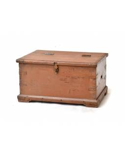 Stará drevená truhla z teakového dreva, 70x48x38cm