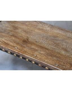 Lavica vyrobená zo starého povoze, teak, 103x65x93cm
