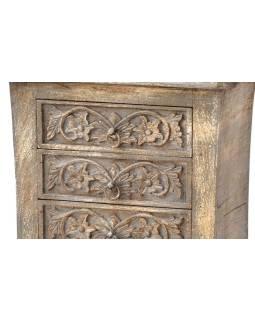 Komoda zo starého teakového dreva s ručne vyrezávanými šuplíky, 53x32x66cm