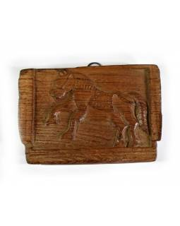 Starý, ručne vyrezávaný drevený panel z mangového dreva, 16x12cm