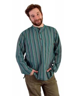 Pruhovaná pánska košeľa-kurta s dlhým rukávom a kapsičkou, zelená