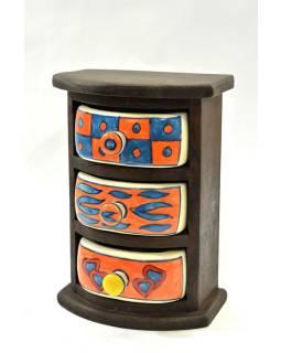 Skrinka, 3 keramické šuplíčky, drevená, 15x10x22cm