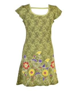 Krátke zelené šaty s potlačou čipky a krátkym rukávom