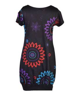 Čierne balónové šaty s krátkym rukávom a potlačou flower mandala