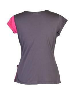 Šedo-ružové tričko s krátkym rukávom, V výstrih
