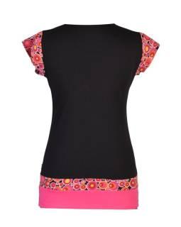 Čierno-ružové tričko, vreckami a krátkym rukávom, Bubble print