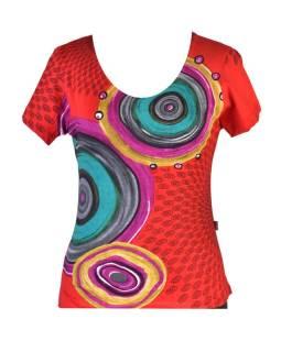 Červené tričko s krátkym rukávom, Mandala potlač, okrúhly výstrih