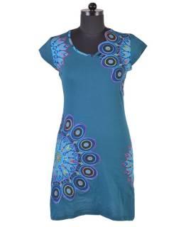 Krátke petrolejovej šaty s krátkym rukávom, mandala dizajn, atypický výstrih