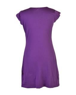 """Krátke fialové šaty s krátkym rukávom a potlačou """"Leaves design"""", V výstrih"""