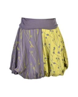 Krátka balónová sukňa, šedo-zelená, elastický pás