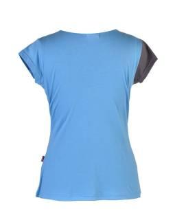 Šedo-modré tričko s krátkym rukávom, V výstrih