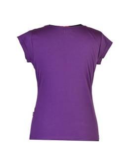 Fialové tričko s krátkym rukávom, Leaves design, výšivka, V výstrih
