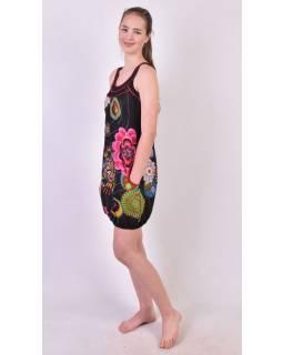 """Čierne šaty bez rukávov """"Wanda"""" s farebnými kvetmi, vrecká"""