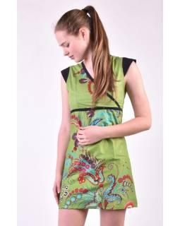 Zelené šaty s krátkym rukávom a potlačou kvetín, šnúrka