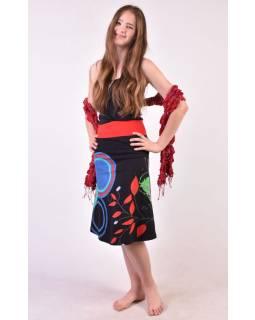 """Čierna sukňa po kolená """"Jamy"""" s farebnou potlačou, pružný pás"""