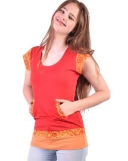 Červené tričko, vreckami a krátkym rukávom, Bubble print