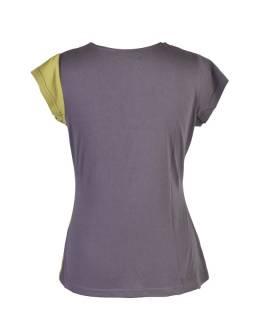 Šedo-zelené tričko s krátkym rukávom, V výstrih