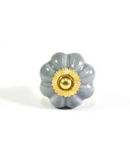 Maľované porcelánové madlo na šuflík, šedej, tvar kvety, zlatý dekor, 4,3cm