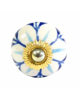 Maľované porcelánové madlo na šuflík, kvety, priemer 3cm