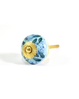 Porcelánové madlo na šuflík, ručne maľované, modré, zelené lístky, priemer 3,7 cm