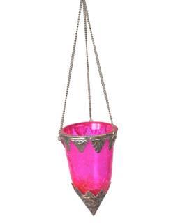 Závesný sklenený svietnik, ružová, kovové zdobenie, 8x14cm