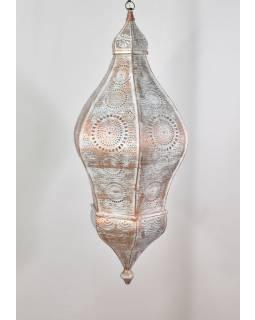 Mosadzná lampa v arabskom štýle, biela patina, vnútri biela, 100cm