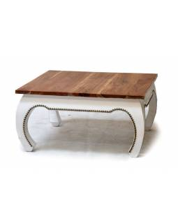 Konferenčný stolík z palisandru, zdobený mosadzným kovaním, 89x89x45cm