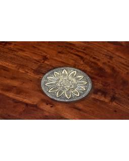 Konferenčný stolík z palisandru, zdobený mosadzným kovaním, 100x99x45cm