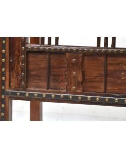 Konzolový stolík z antik teakového dreva, železné kovania, 125x45x73cm