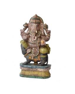 Ganéša, drevená ručne maľovaná socha, 90cm