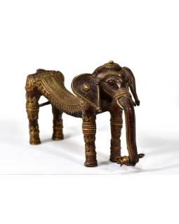 Slon, tribal art, mosadzná soška, medená úprava, 26x11cm