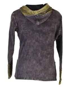 Čierna mikina s kapucňou a prestrihy, farebná výšivka, zips, vrecká