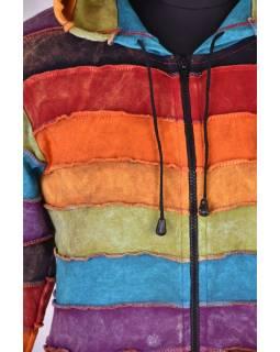 Predĺžená multifarebná mikina s kapucňou, rainbow dizajn zips, vrecká
