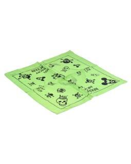 Bavlnený štvorcový šatka s lebkami, zelená, 40x40cm
