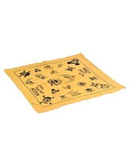 Bavlnený štvorcový šatka s lebkami, žltá, 40x40cm