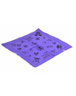 Bavlnený štvorcový šatka s lebkami, fialová, 40x40cm
