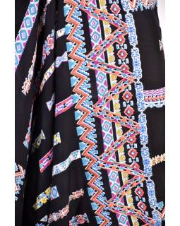 """Elegantné čierne turecké nohavice s potlačou """"Alana design"""" žabičkování"""