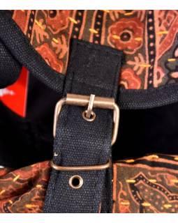 Bavlnený batoh s potlačou, block print, vrecko, cca 38x38cm