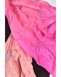 Luxusné hodvábny šál v marhuľových tónoch, uzlíková batika, cca 150x50cm