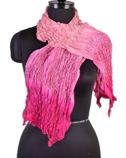 Luxusný hodvábny šál vo ružových tónoch, uzlíková batika, cca 150x50cm