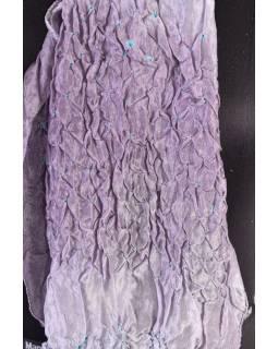 Luxusný hodvábny šál vo fialových tónoch, uzlíková batika, cca 150x50cm