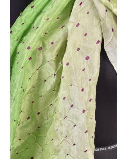 Luxusné hodvábny šál v zelených tónoch, uzlíková batika, cca 150x50cm