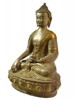 Budha Šákjamúni, antik kamenná patina, mosadzná soška, 32cm