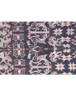Modro béžový prehoz so zvieracím motívom, technika tkanie Ikat, 240x90cm