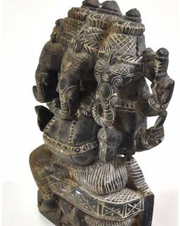 Kamenná soška, Ganéša 3 hlavy (Trimukha Ganapathy), ručne vyrezávaná, 13,5 cm